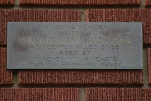 A plaque that Wayne's family had engraved, then placed in position by former members of Maroubra HWP and visited every year.