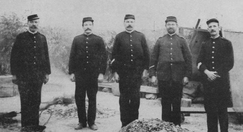 An old photograph of policeman near Dungog. Senior Sergeant William Bowen is among the officers shown.
