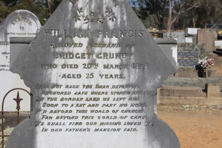 Grave Stone of Constable William Francis GRUNDY - Holbrook Cemetery, NSW.