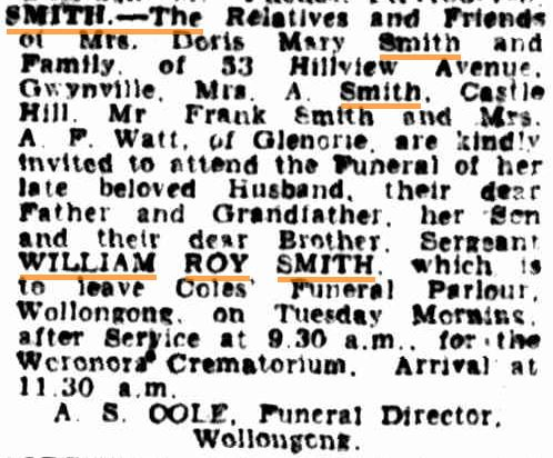 William Roy SMITH - NSWPF - Died 010951 - Funeral notice 1