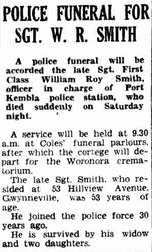 William Roy SMITH - NSWPF - Died 010951 - Funeral notice 2