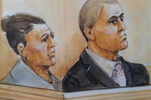 Artist impression of Fiona Barbieri and her son Mitchell in the dock of Central Local Court last year. Artist impression by Bernd Heinrich