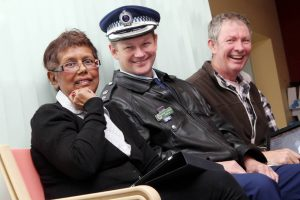 Money raised from the 2011 police charity ball went to Motor Neurone Disease Services at Port Kembla Hospital. Motor Neurone sufferers Cathy Buzak, and Paul Nixon with Superintendent Wayne Starling got to experiment with iPads to communicate.