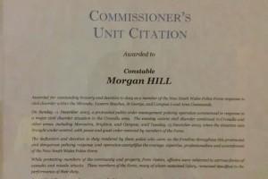 Morgan Hill - Commissioners Unit Citation re 2005 Cronulla Riots