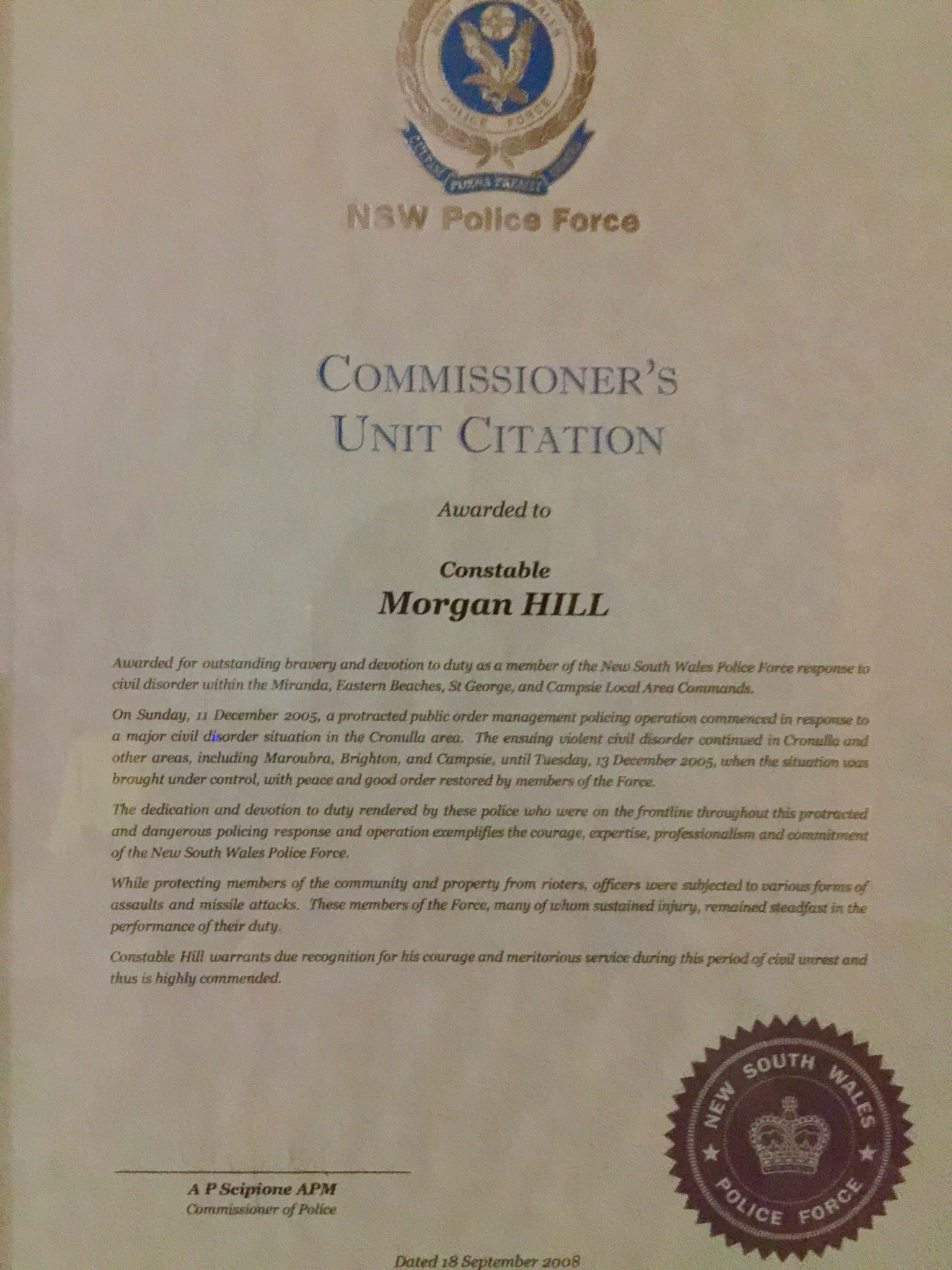 Morgan Hill - Commissioners Unit Citation re 2005 Cronulla Riots