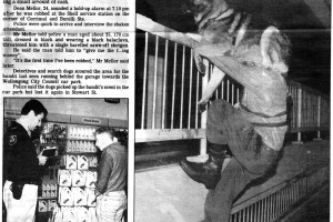 Armed hold up at service station. Illawarra Mercury page 9 Monday 10 February 1992 with police dog Jet