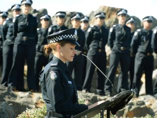 First Constable Andrea Walsh at a service honouring the late Sergeant Brian Kilmartin.
