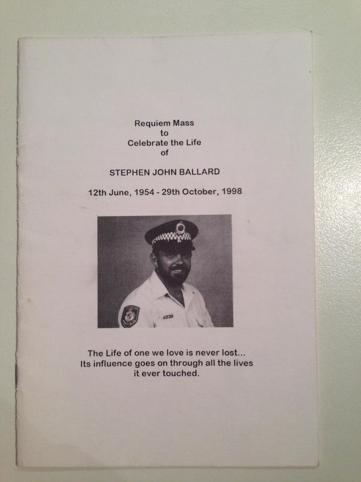 Det Sgt Steve BALLARD - Funeral service booklet - front page only