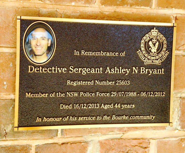 Memorial plaque upon the front wall of Bourke Police Station, NSW, remembering Ashley Bryant. Set in place - June 2015