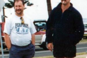 Gary Dunningham & Greg Callander in Marine Drive, Wollongong, at a car show around 1998.