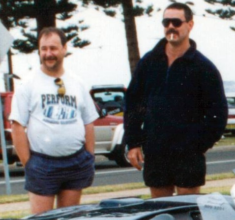 Gary Dunningham & Greg Callander in Marine Drive, Wollongong, at a car show around 1998.