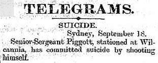 William Thomas PIGGOTT - Suicide - NSWPF - 1888 - Newspaper