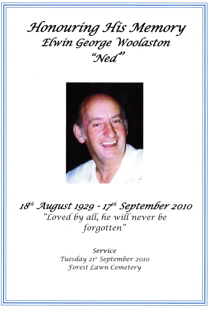 Ned Woolaston - Funeral book