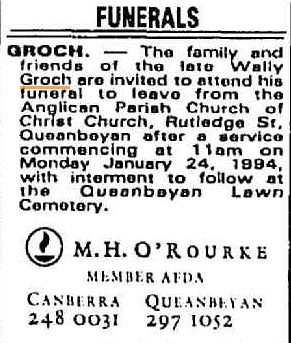 Walter Charles - Wally - GROCH - Funeral notice