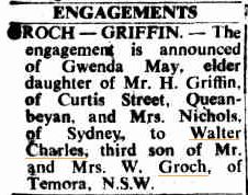 Walter Charles - Wally - GROCH - engagement notice