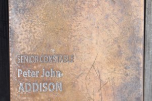 Peter John ADDISON - touch plate at National Police Wall of Remembrance, Canberra.