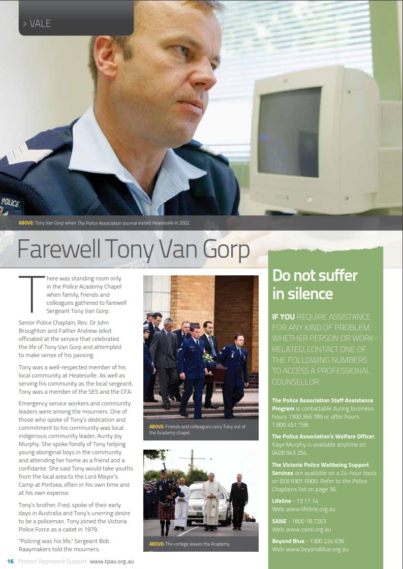 Anthony van GORP 2 - VicPol - Suicide 22 March 2010