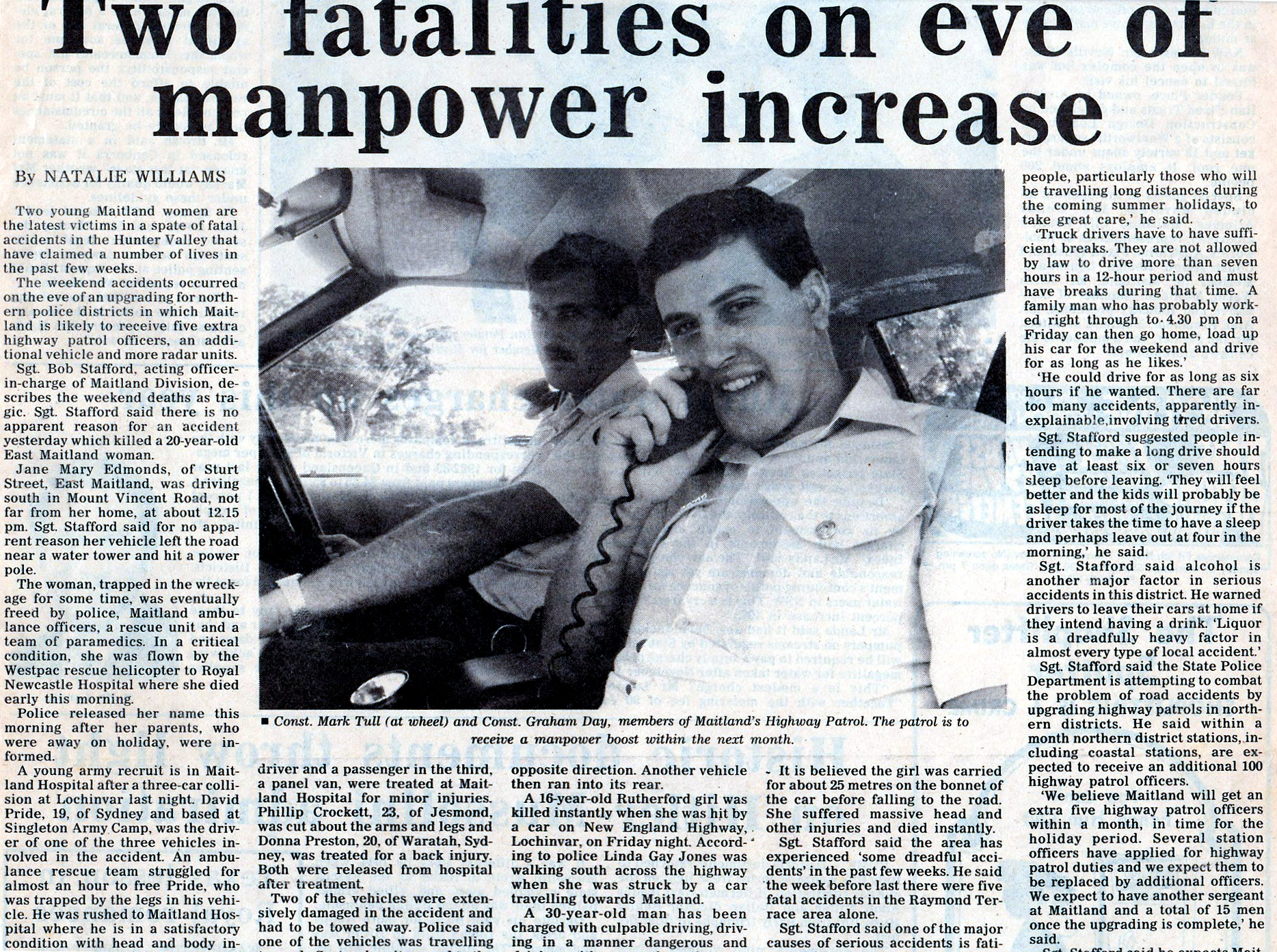Constable Mark Tull ( Driver ) and Constable Graham Day