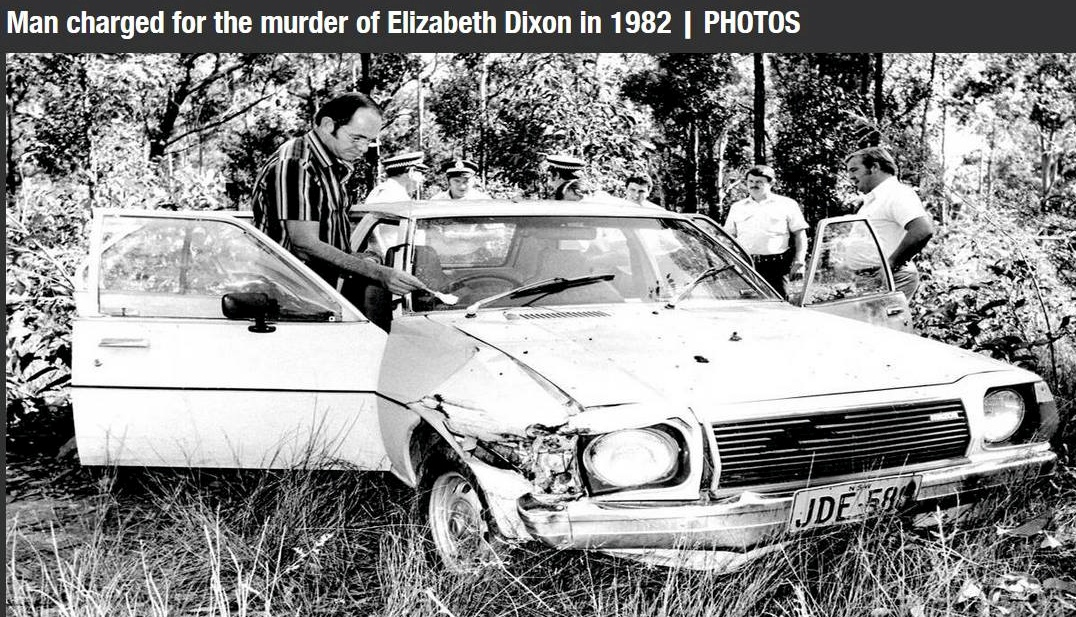 Murder solved today, Photo in the News of the discovery of Elizabeth Dixon in Maitland 1982. Graham Day (third from right without hat) and Z.T Matuszynski beside him. The were early on the scene.