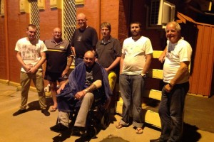 """And we're in Parks. Thanks to """"The Recovery Crew"""" for giving up sleep to get us this last leg. — with Matt Hoy, Ian Hoy, Scott Sanders, Callum Baker, Jason Maloney and William Poulton at Parkes railway station"""