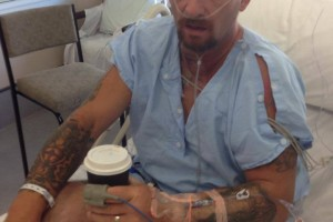 21 February 2014 He's back on the ward and finally got a coffee.