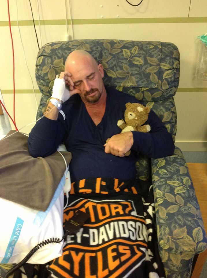 15 May 2013 Paul and Nuf Nuf getting ready for his first round of chemo.