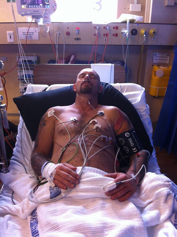 14 May 2013 It's not as bad as it looks. All the wires are just a heart monitor and oxygen tube. Just normal emergency department stuff. Though I must admit his heart rate did go up when I gave him a bed bath. Lol. He's a lot more comfortable this afternoon. He's even being cheeky to the nurses. They are about to move him to calvery as there are no bed at the base. Thank god for private health cover.