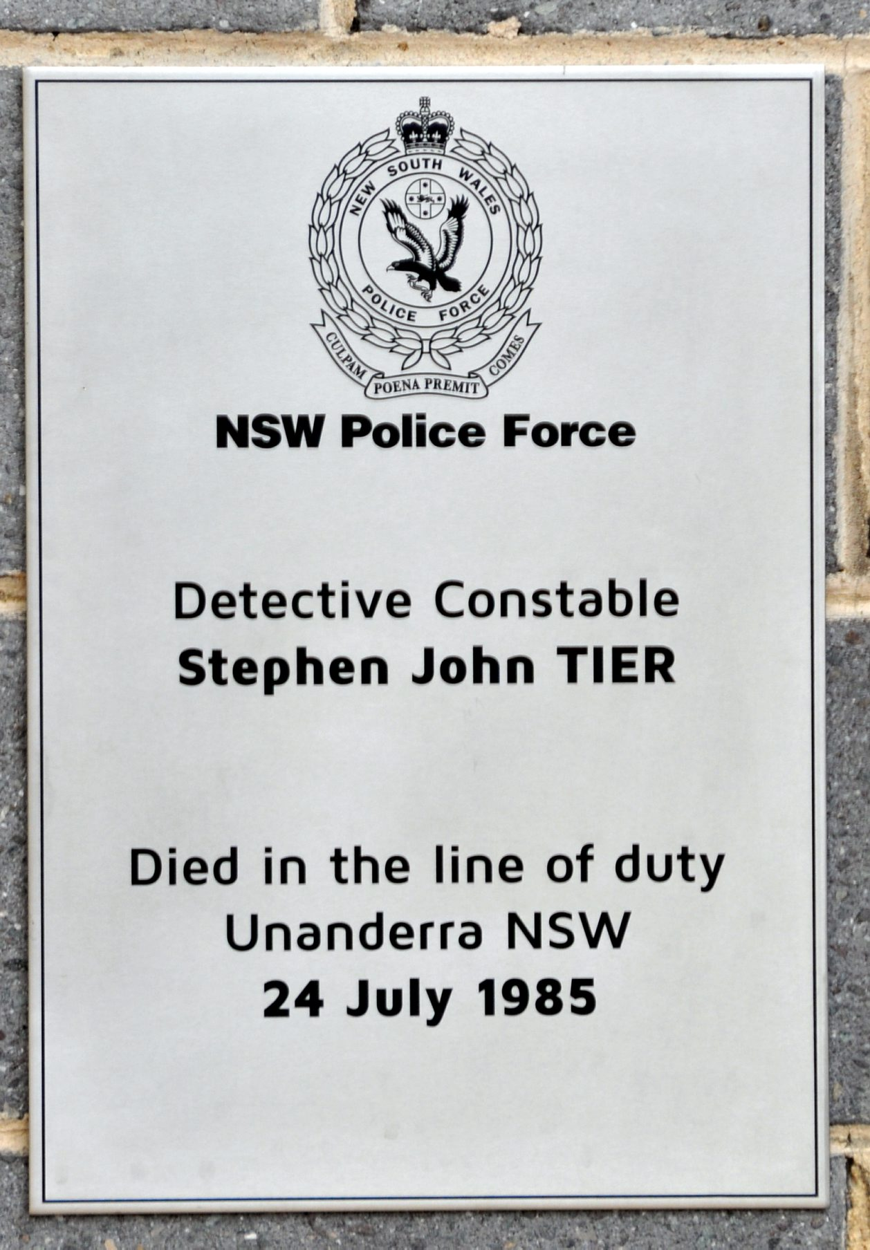 NSW Police Force Detective Constable Stephen John TIER Died in the line of duty. Unanderra, NSW 24 July 1985