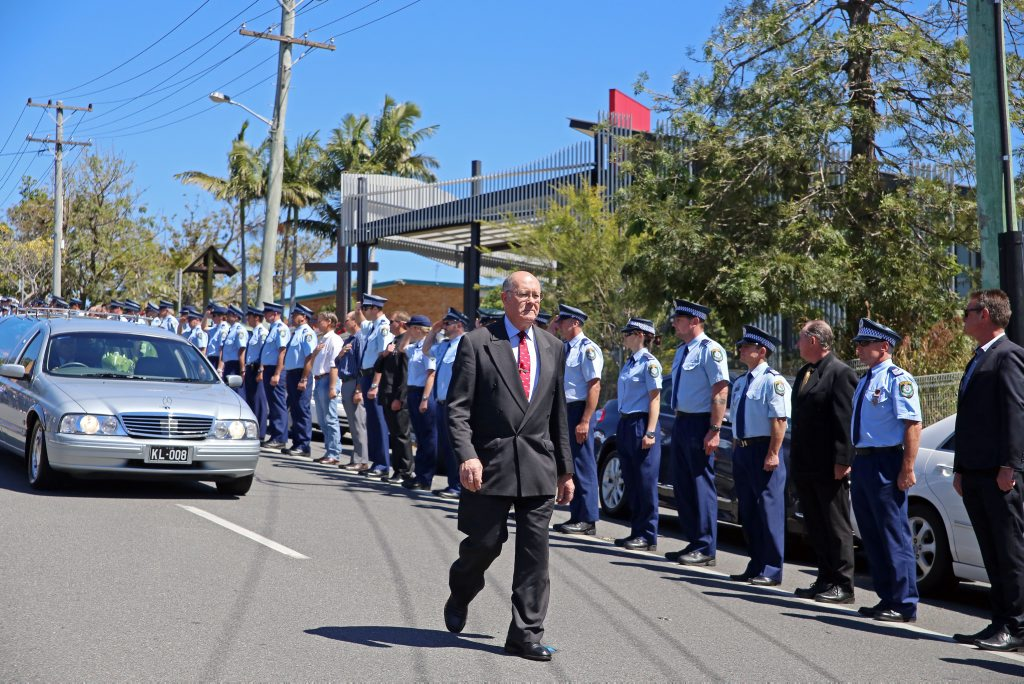 The funeral of Phil Jacobson APM in Coffs Harbour today. Gemima Harvey/Coffs Coast Advoca