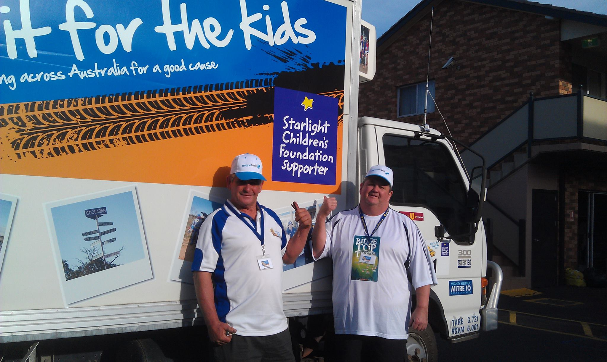 Phillip LEVERTON, on the right, with the Starlight Children's Foundation van.