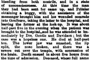 William Norman St John MAULE - NSWPF - Killed 1881 - Mummell NSW - News article