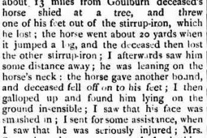 FATAL ACCIDENT. A MOUNTED-CONSTABLE named William Morman St. John Maule met with a fatal accident on Thursday last while in company with mounted-constable Pritzler in search of a lunatic. It appears that when about 13 miles from town, on the Mummel road, Maule's horse bolted and threw the rider, and in rushing past him knocked deceased with great violence against a tree, rendering hm unconscious. Pritzler at once procured a buggy, in which he conveyed the poor fellow to the hospital, when Drs Davidson and Gentle immediately attended him and found him still in an unconscious state, and suffering from a severe scalp wound, broken jaw, and injured nose, besides several injuries to his body. The sufferer remained unconscious for five hours, when he expired. An inquest held yesterday afternoon at the Hospital before the coroner(A. M. Betts Esq). when the following evidence was taken :- Simon Pritzler deposed: I am a mounted policeman stationed at Goulburn; the body just viewed by the coroner is that of mounted constable William Norman St. John Maule ; he had been at Goulburn about 6 weeks, and had only been in the force since June last ; he was 28 years of age and unmarried ; yesterday afternoon he came to me, and we both went to Mummell, about 14 miles from Goulburn, when we got about 13 miles from Goulburn deceased's horse shied at a tree, and threw one of his feet out of the stirrup-iron, which he lost; the horse went about 2o yards when it jumped a log, and the deceased then lost the other stirrup-iron ; I afterwards saw him some distance away; he was leaning on the horse's neck : the horse gave another bound, and deceased fell off on to his feet ; I then galloped up and found him lying on the ground insensible ; I saw that his face was smashed in ; I sent for some assistance, when I saw that he was seriously injured ; Mrs. Storey brought some water, and after bathing him he appeared to get better ; I then had him placed in a buggy, and brought in to the hospital, when Drs. Gentle and Davidson attended him ; he never recovered consciousness, and died in about five hours after the accident ; at the time deceased's horse shied he was about 30 yards in front of me, and was walking his horse ; from the place where the horse first shied to where deceased was thrown was about 300 yards ; the horse was going at a rapid pace at the time ; after deceased fell from the horse he was knocked against a tree ; the deceased was not a good rider, and the horse was a rather spirited one. Dr. Peter Hume Gentle deposed : I was asked to see deceased last night at nine p.m., and saw him in a comatose condition, with nose broken and the lower jaw broken ; I also found a wound over the eye about two inches in length, exposing the bone ; blood flowed from his right ear ; the pupil of the right eye was dilated, and that of the left contracted ; I believe compression of the brain to have been the cause of death. The jury after a brief consultation, returned a verdict that deceased died from injuries received by being accidentally thrown from his horse, and the jury would like to add that more discretion might be exercised at the Sydney Depot as to the horsemanship of men sent for duty in the country.