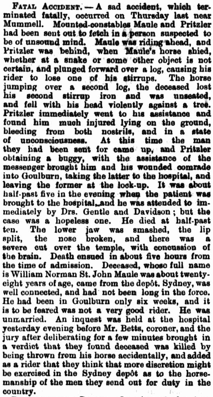 William Norman St John MAULE - NSWPF - Killed 1881 - Mummell NSW - News article