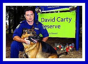 Police Dog CARTS & Senior Constable Dave WILLIAMS at David Carty Reserve, at the corner of Horsley Drive and Fairfield St, Fairfield.