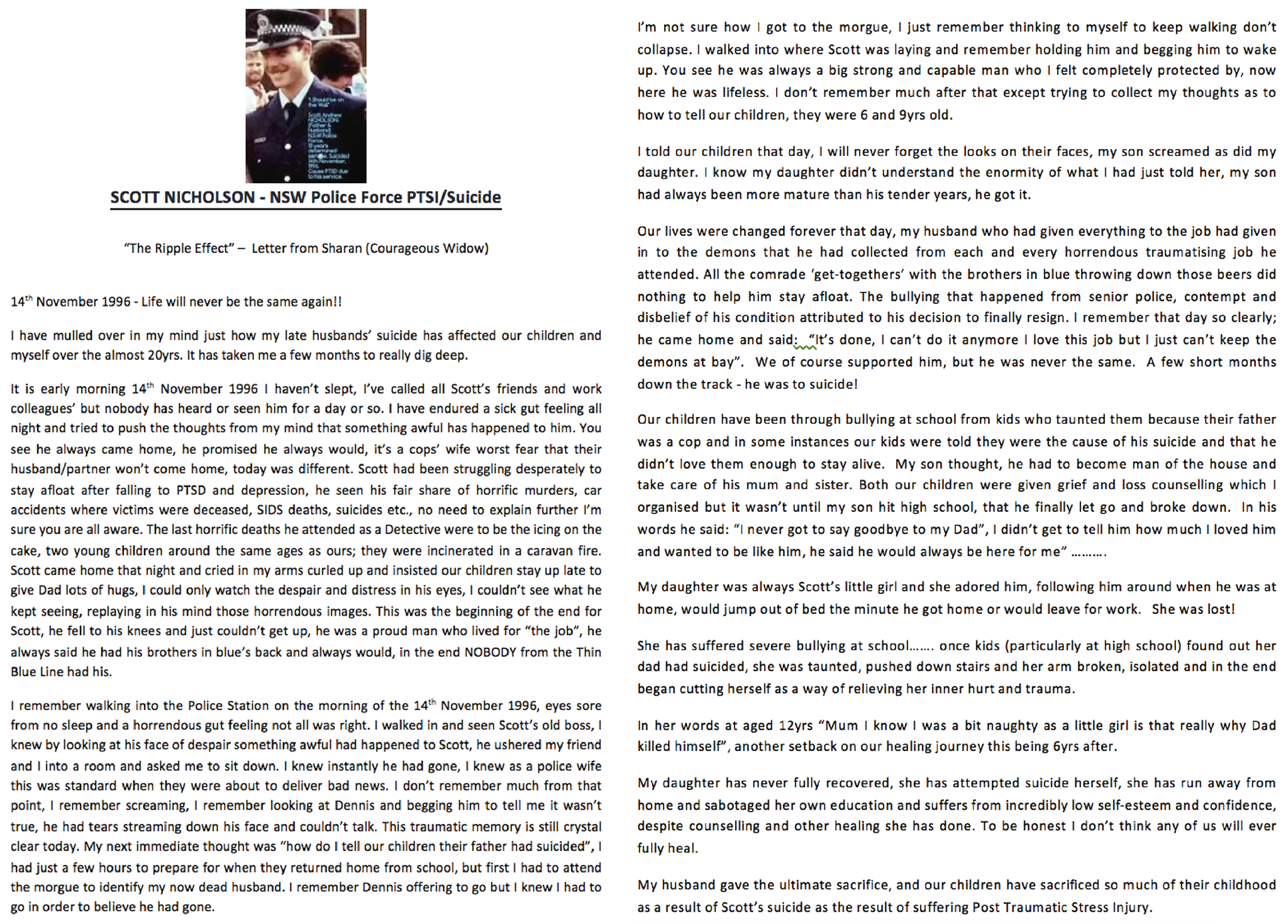 Scott Nicholson - NSW Police Force PTSI / Suicide