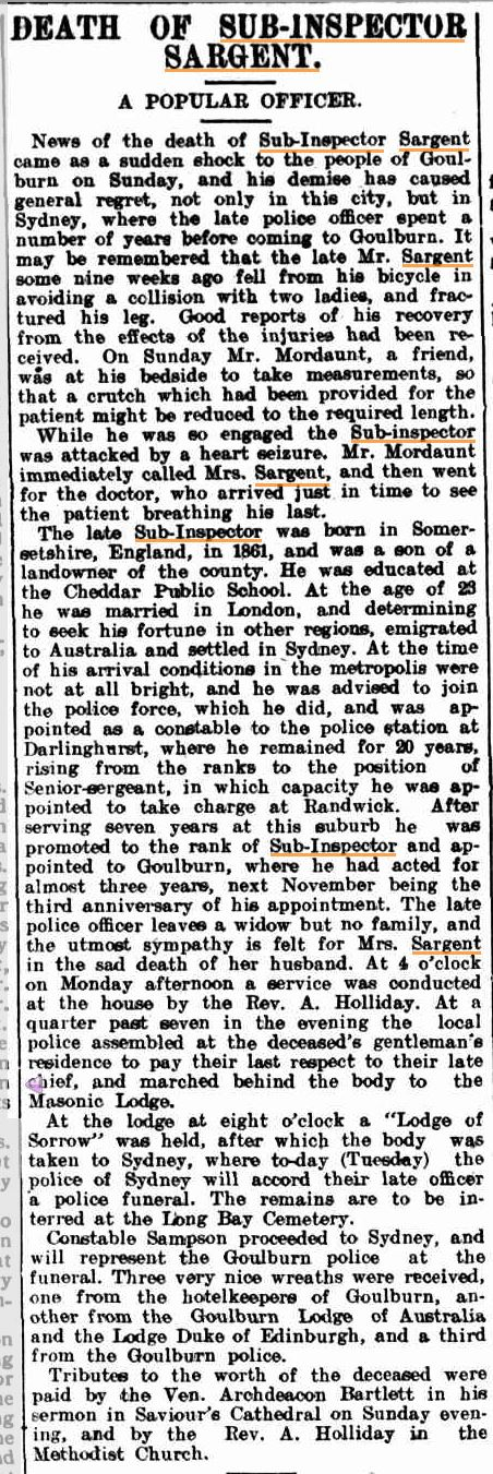 Sub-Inspector SARGENT 11 - Funeral 9 Sept 1913