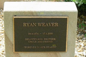 Ryan Weaver memorial stone, Taree Cemetery