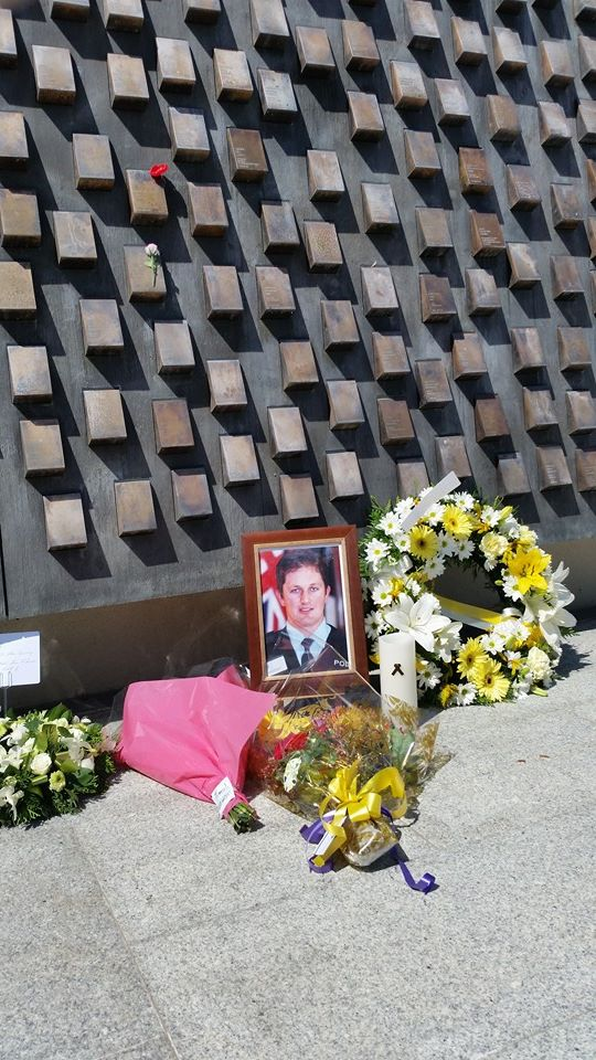Memorial Tribute to Adam DUNNING, 10 years on. 22 December 2014, National Police Wall of Remembrance, Canberra. Excellent turnout at NPM this morning for Adam and his family. RIP and we remember.