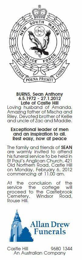 Sean Anthony BURNS - NSWPF - Suicide 27 January 2012 - obituary