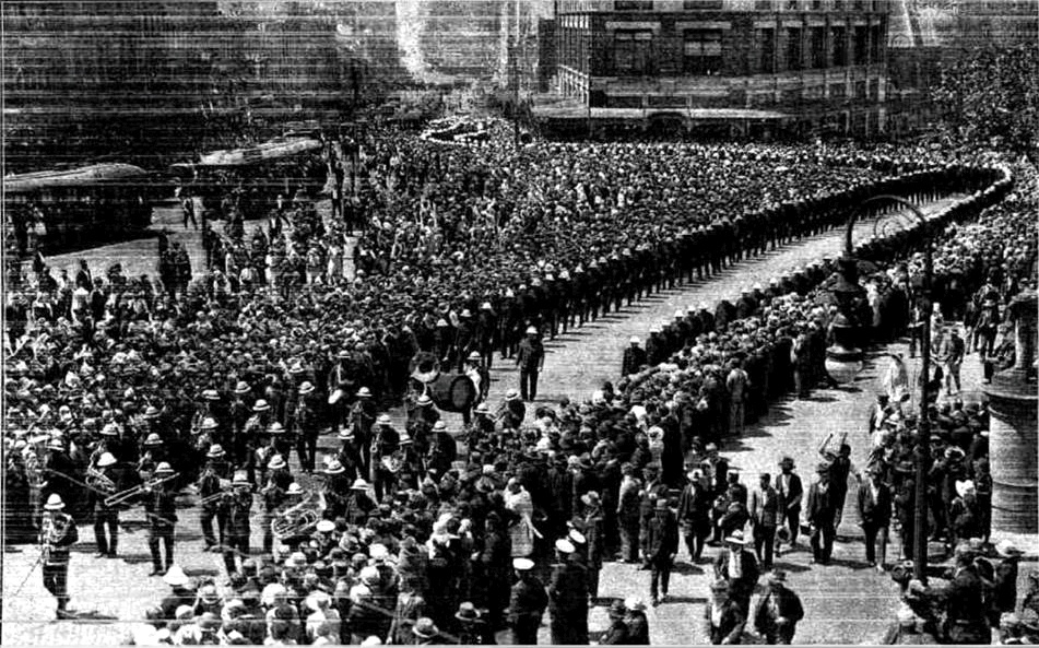 Funeral procession through Railway Square in 5 January 1931 for two police constables, Allen and Andrews, killed in the line of duty. Source: Sydney Mail newspaper 7 January 1931