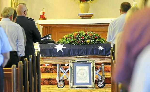 Friends and family attended the funeral of retired police sergeant Murray Powell at St Kevin's Catholic Church in Bangalow yesterday where he received full police honours in a moving ceremony.