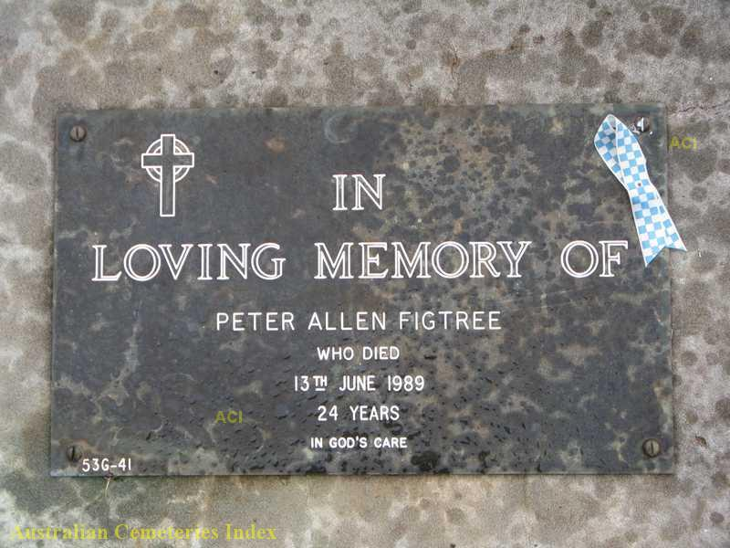 Peter Allen FIGTREE grave plaque