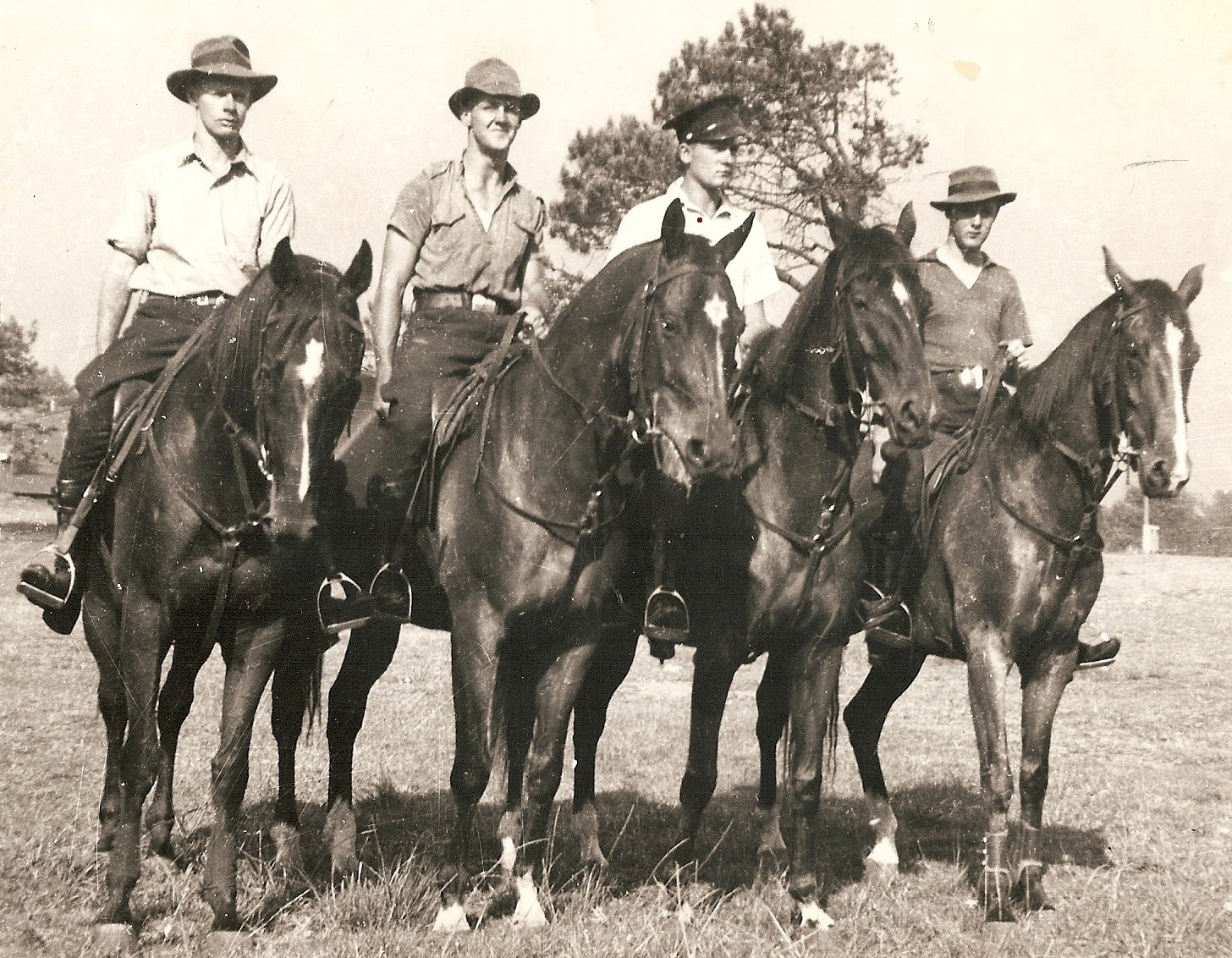 A photograph taken in 1946 of four cadets exercising police horses at Centennial Park.  They are from left: John Nivision-Smith, Bob Shepherd, Ray Carpenter and Jack Bailey.