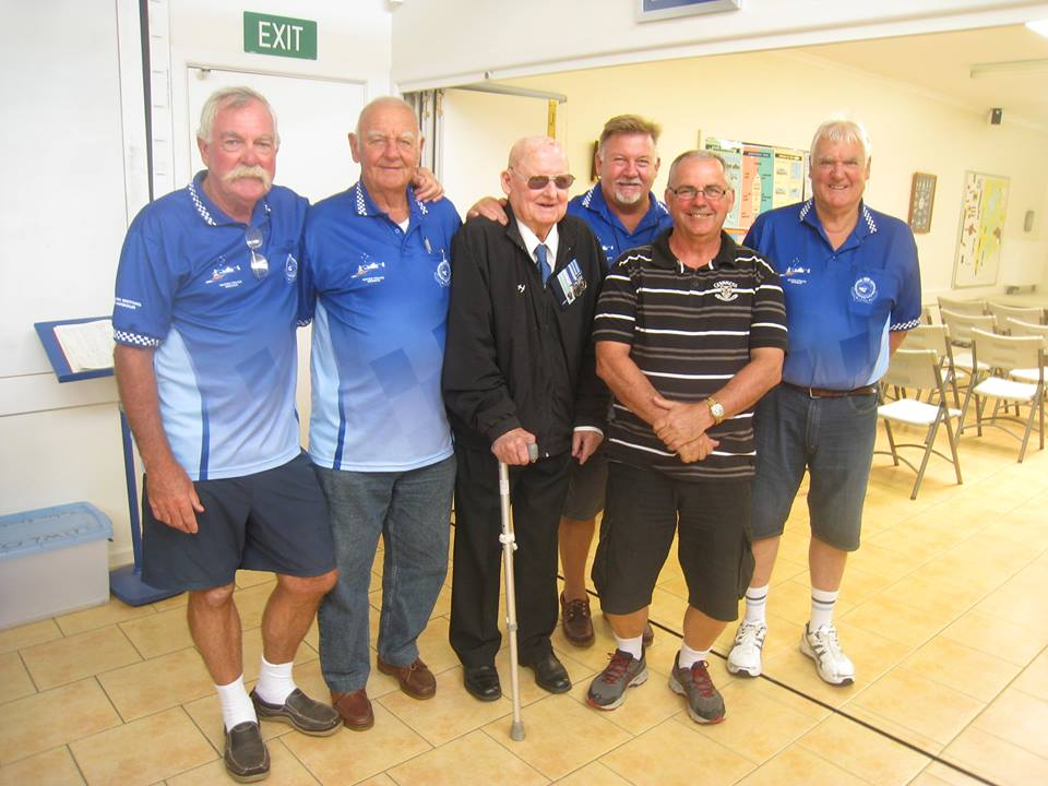 Retired Water Police celebrate the recognition of RLS 'Buster' Brown on his 'Life Membership' and 'Long Service' awards to the RVCP (now Volunteer Marine Rescue) at Pt Claire VMR base at Gosford.