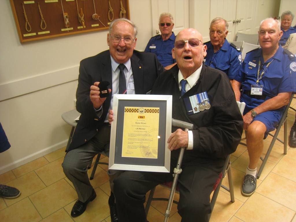 Mike Stringer with 'Buster' Brown - with 'Long Service Medal'.