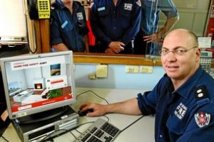 Dean Campbell tries the free online fire safety audit with his colleagues Brett Arundel, Mark Shields and Shaun Scanlon. Picture: MATTHEW SMITHWICK