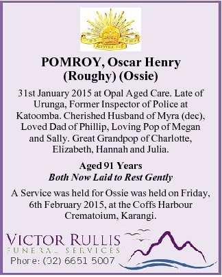 Oscar Henry POMROY 1 - NSWPF - Died 31 January 2015