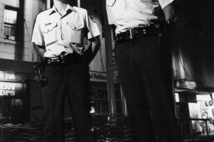 Constable Peter Dunn with Cst Jim Breeze in Wollongong Mall about 1984.