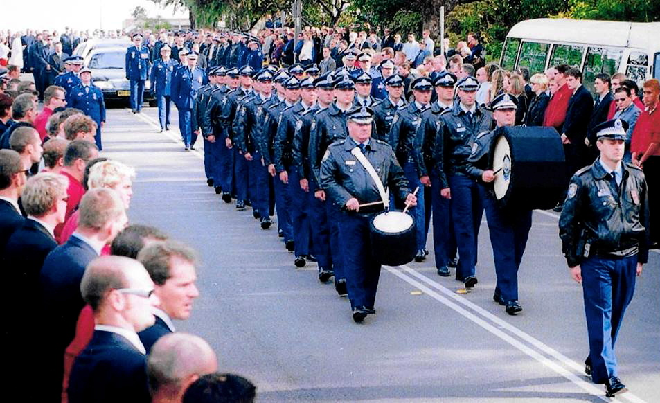 This is perhaps the only photo where you will witness the NSW Water Police marching.  Andy WARNER Funeral