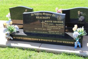 Keith George BEACROFT - grave.  BEACROFT Keith George 29.6.1940 - 8.4.2015 Beloved husband of Lorraine Loving father of Ray, Kathy, Meg, Garry Adored Pa of Krystie, Nick, Emily, Lachlan, Mitchell, Josh, Ben, Tahlia, Jai In God's loving care & forever in our hearts